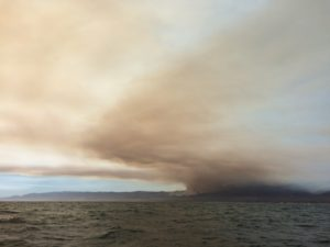 Wildfire smoke over the ocean