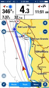 Our route to Morro Bay from Santa Barbara