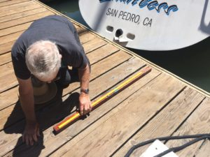 Our measurer had a custom Express 37 stick for measuring the boat