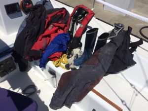 Drying out our gear on the dock in Santa Cruz