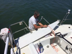 Chad working on the emergency rudder installation points