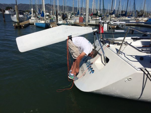 Chad working some more on the emergency rudder
