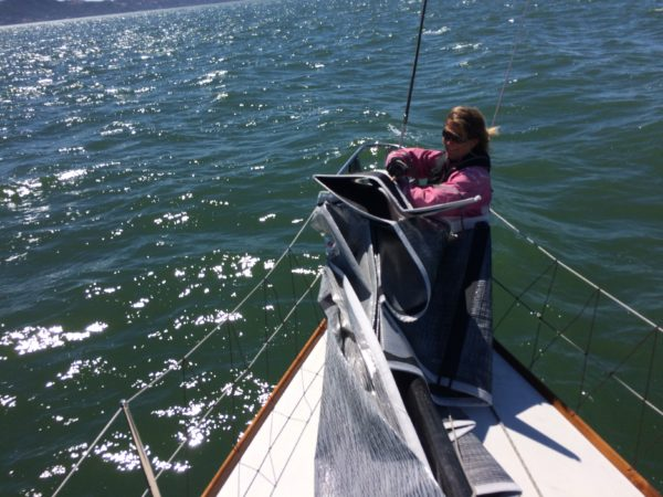 Lori on the bow